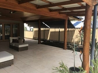 Roof to Fence Blinds in outdoor area