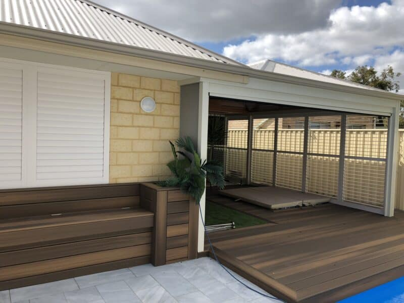 external shutters near nice deck area
