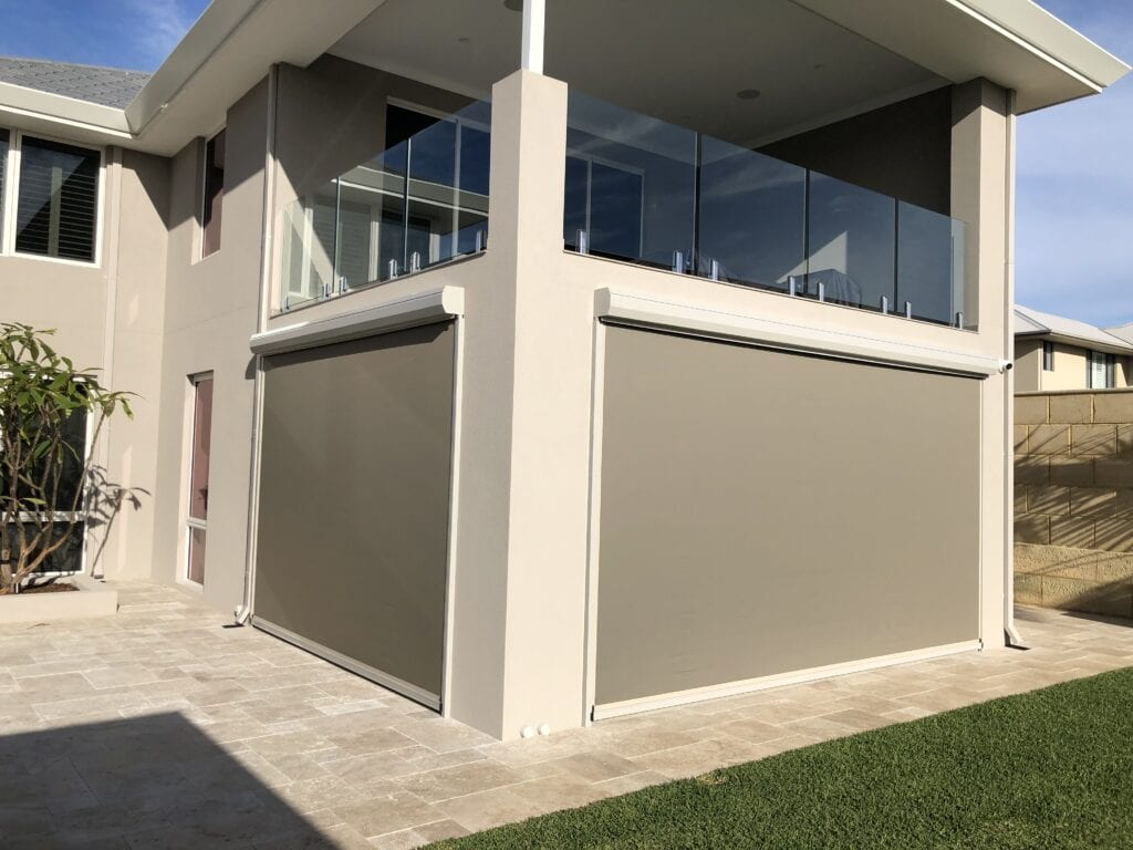 House with Grey Outdoor blinds