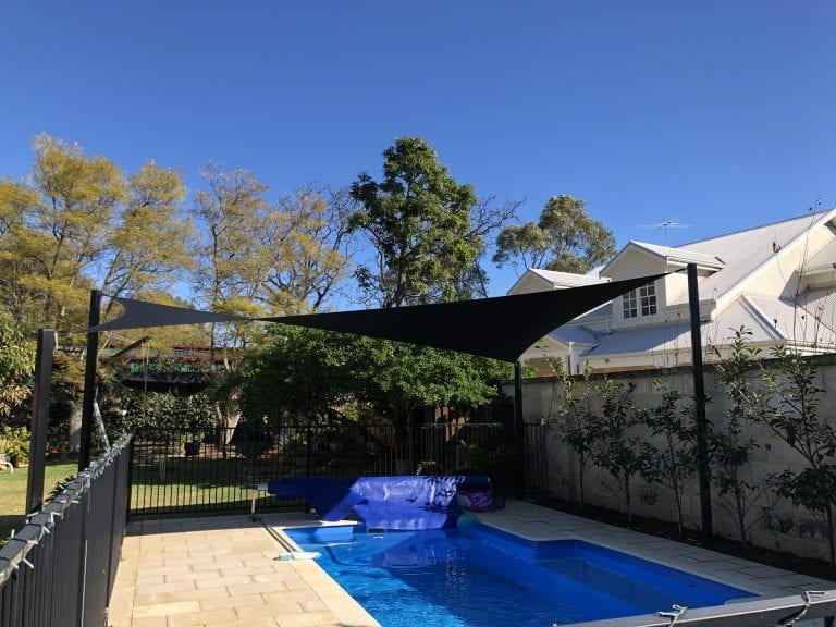 Shade Sail installed over swimming pool
