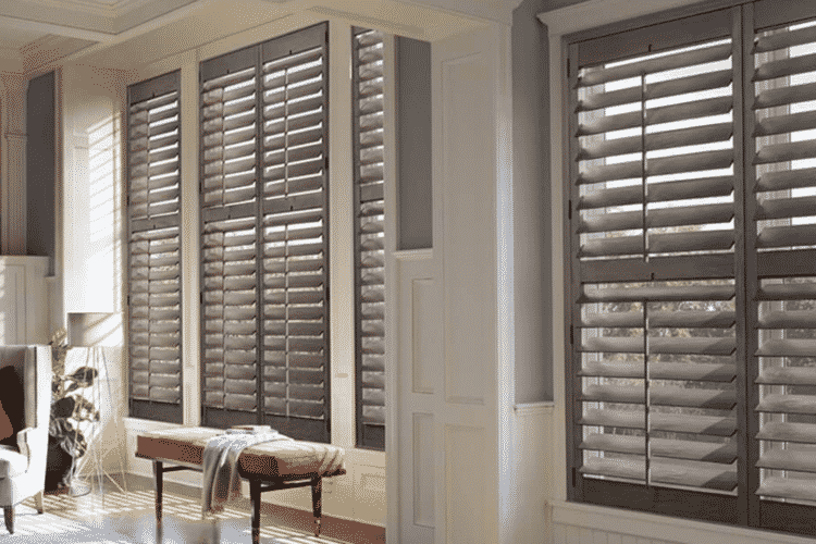 Timber Plantation Shutter installed in a white room